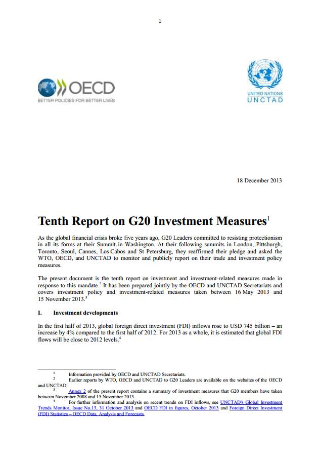 Tenth Report on G20 Investment Measures