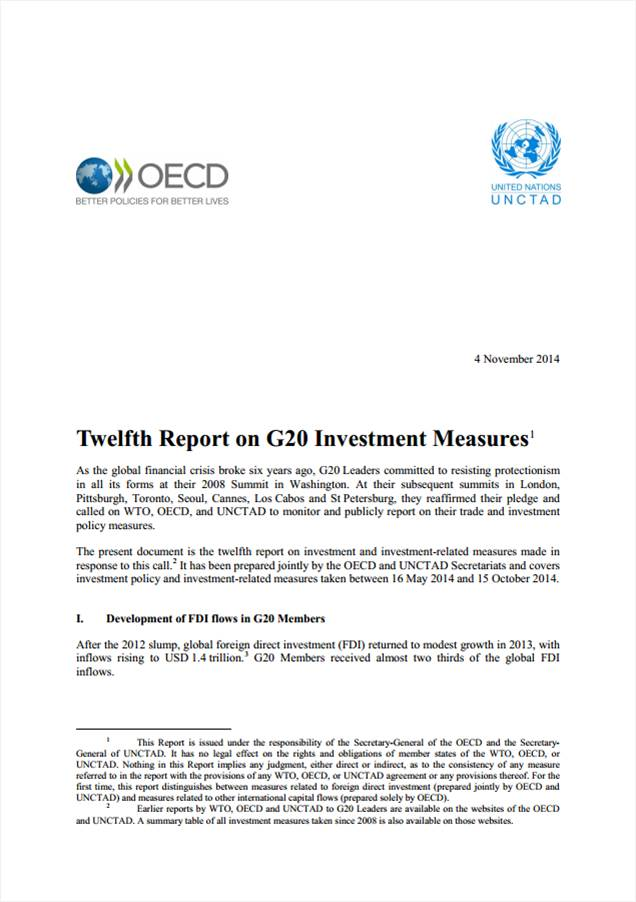 Twelfth Report on G20 Investment Measures