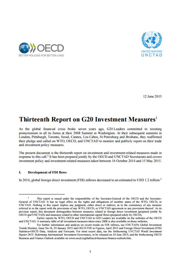 Thirteenth Report on G20 Investment Measures