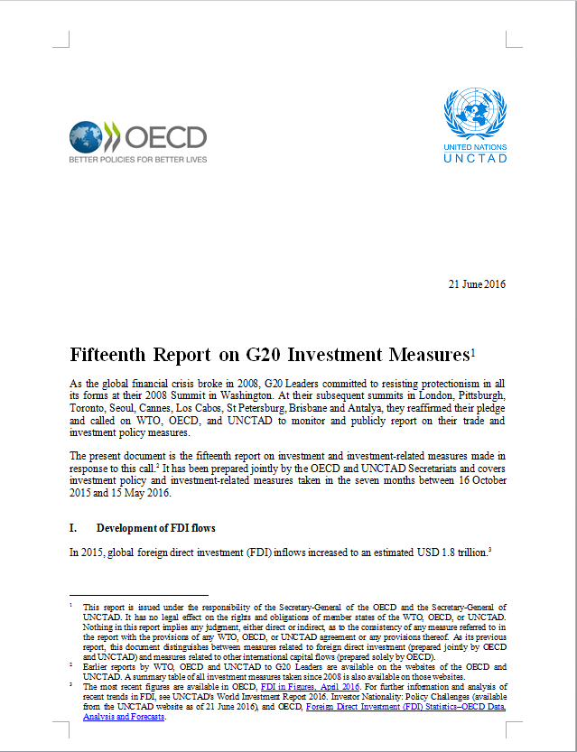 Fifteenth Report on G20 Investment Measures