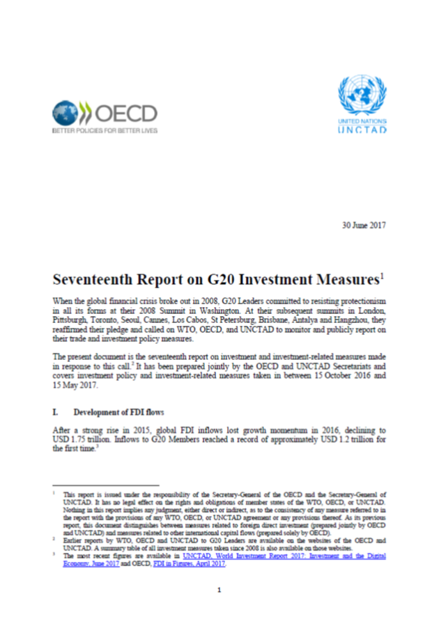 Seventeenth Report on G20 Investment Measures