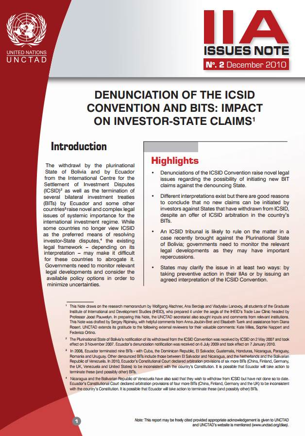 IIA Issues Note: Denunciation of the ICSID convention and BITS