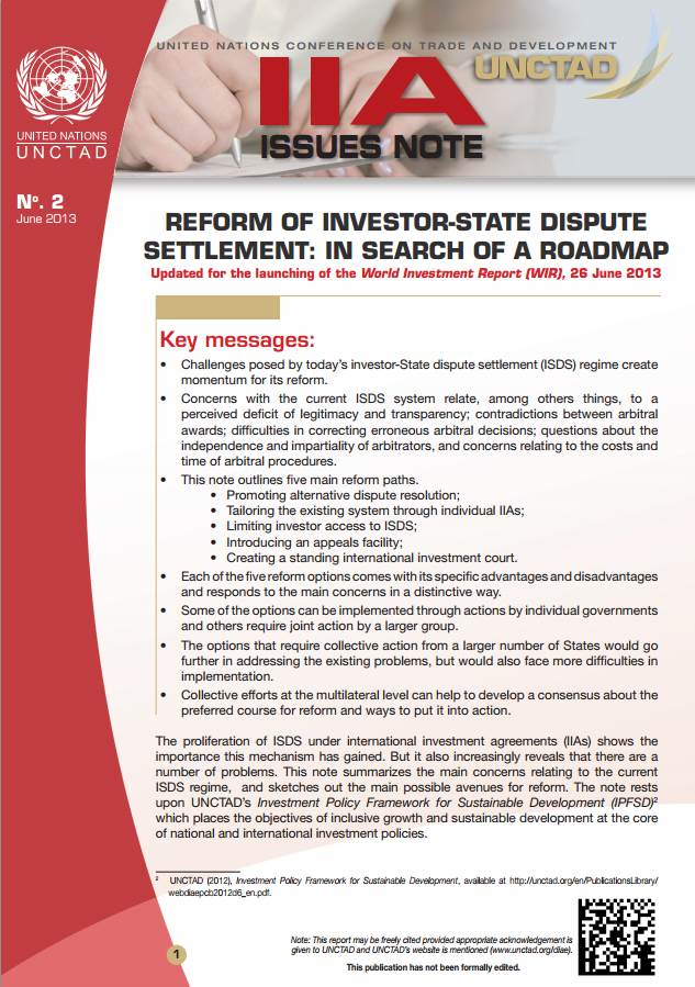 IIA Issues Note: Reform of Investor-State Dispute Settlement: in Search of a Roadmap