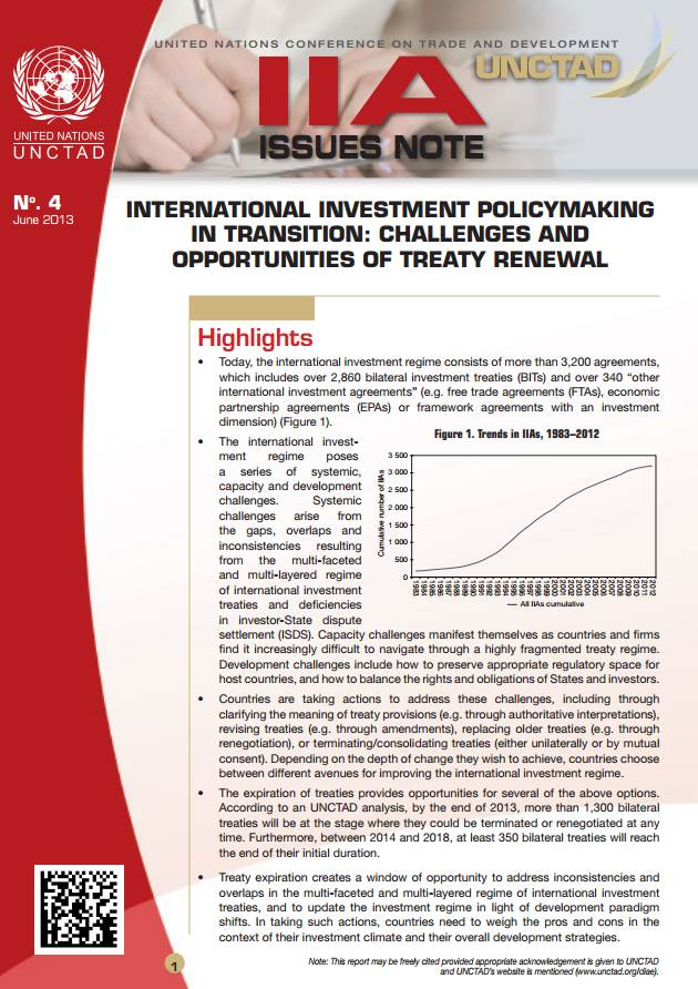 IIA Issues Note: International Investment Policymaking in Transition