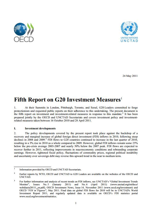 Fifth Report on G20 Investment Measures