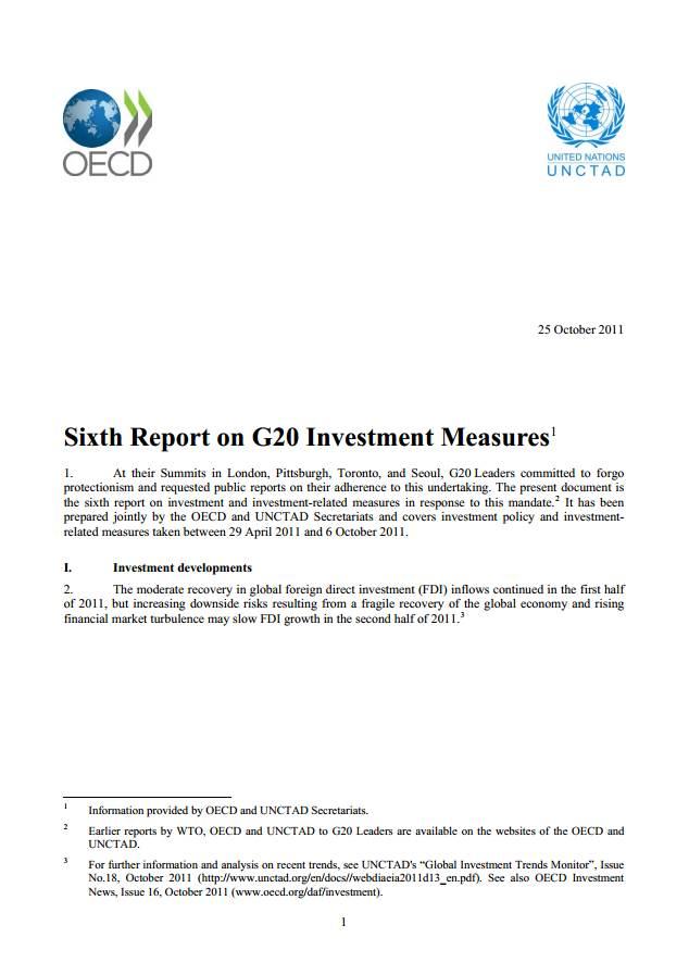 Sixth Report on G20 Investment Measures