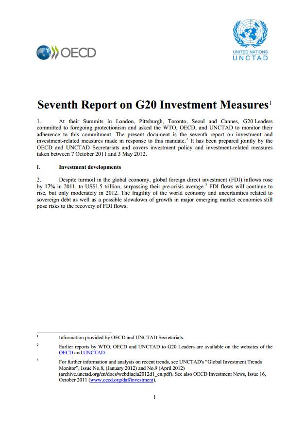 Seventh Report on G20 Investment Measures