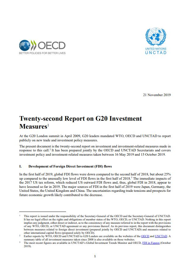 Twenty-second UNCTAD-OECD Report on G20 Investment Measures