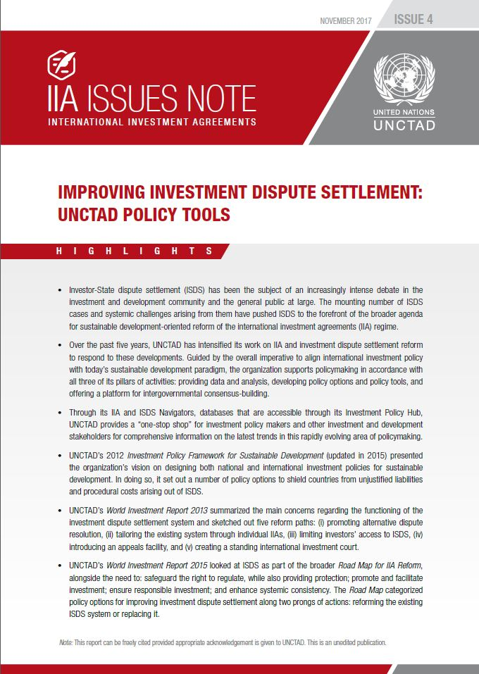 IIA Issues Note: Improving Investment Dispute Settlement: UNCTAD's Policy Tools