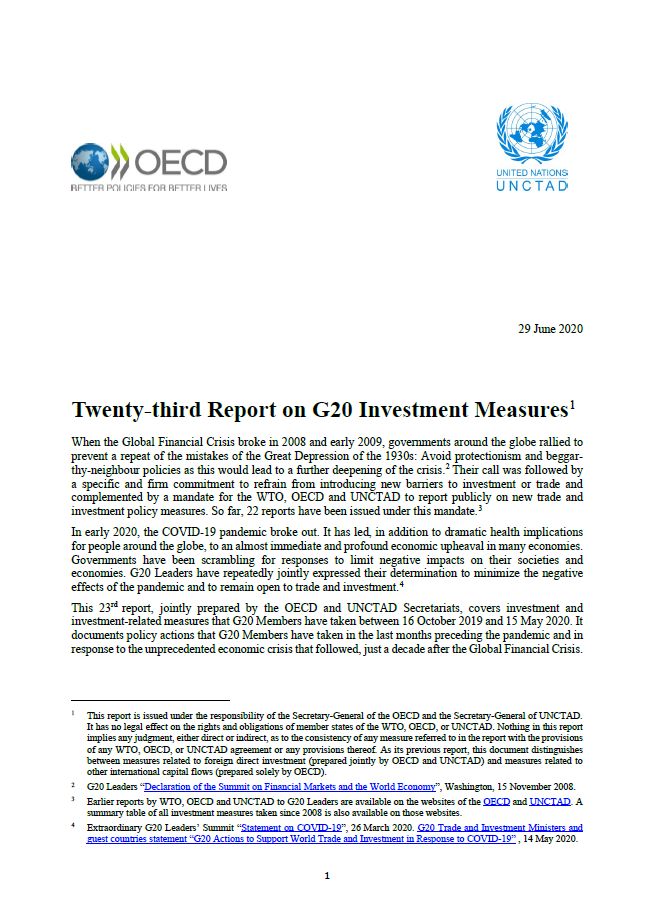 Twenty-third UNCTAD-OECD Report on G20 Investment Measures