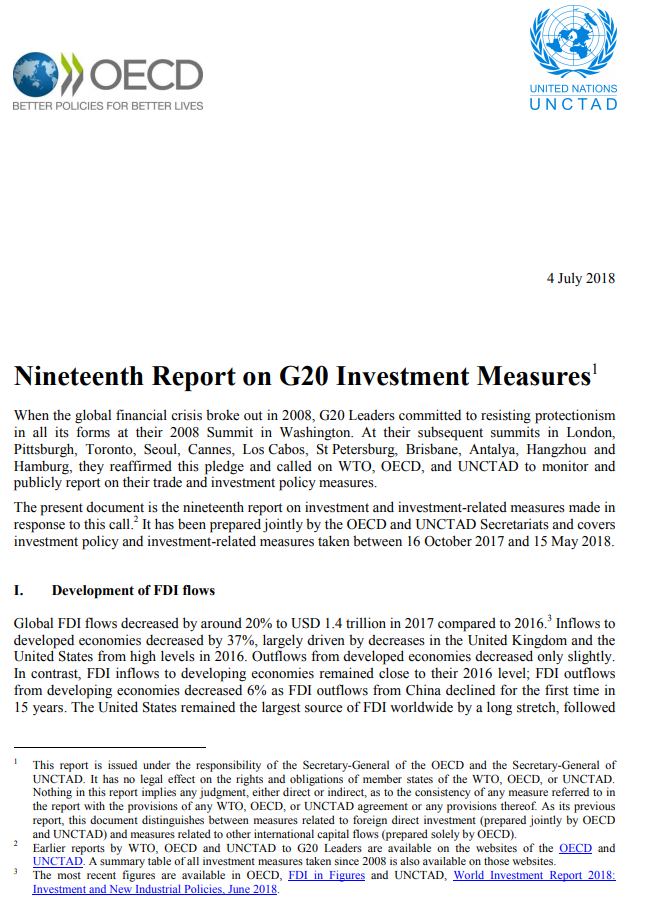 Nineteenth Report on G20 Investment Measures