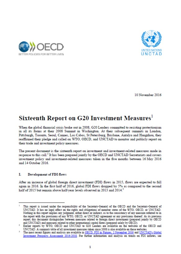 Sixteenth Report on G20 Investment Measures