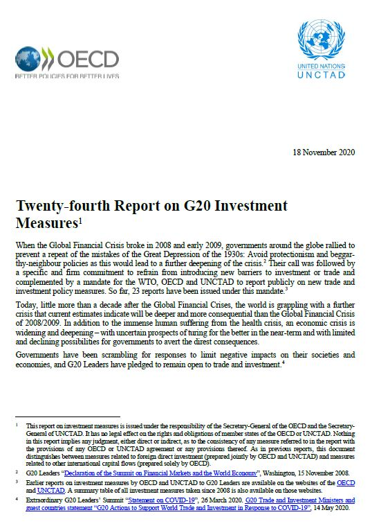 UNCTAD-OECD Report on G20 Investment Measures (24th Report)