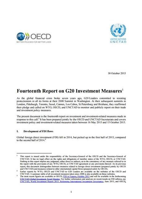 Fourteenth Report on G20 Investment Measures