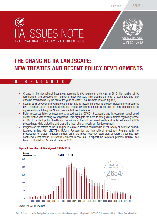 The Changing IIA Landscape: New Treaties and Recent Policy Developments