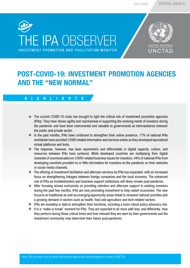 "Post-COVID-19: Investment Promotion Agencies and the ""New Normal"""