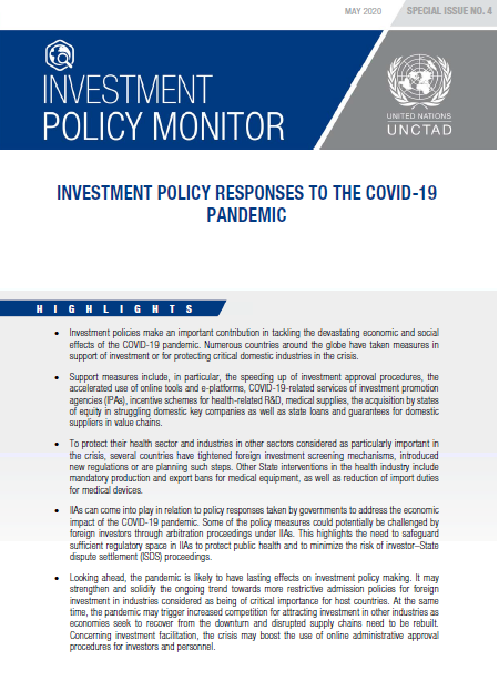 Investment Policy Monitor: Special Issue - Investment Policy Responses to the COVID-19 Pandemic