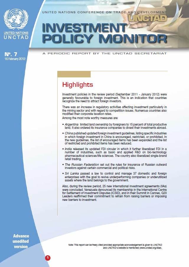 Investment Policy Monitor No. 7