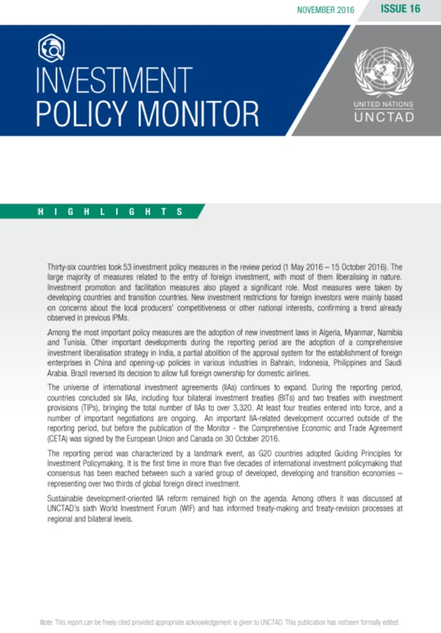 Investment Policy Monitor No. 16