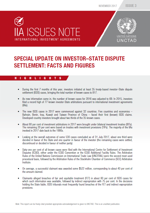 Special Update on Investor-State Dispute Settlement: Facts and Figures