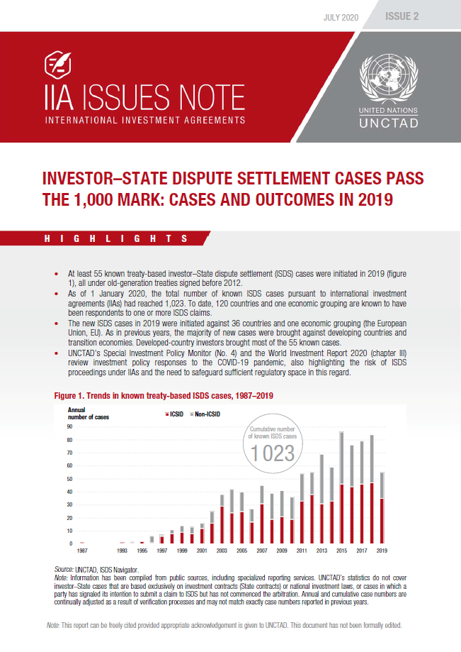 Investor–State Dispute Settlement Cases Pass the 1,000 Mark: Cases ​and Outcomes in 2019