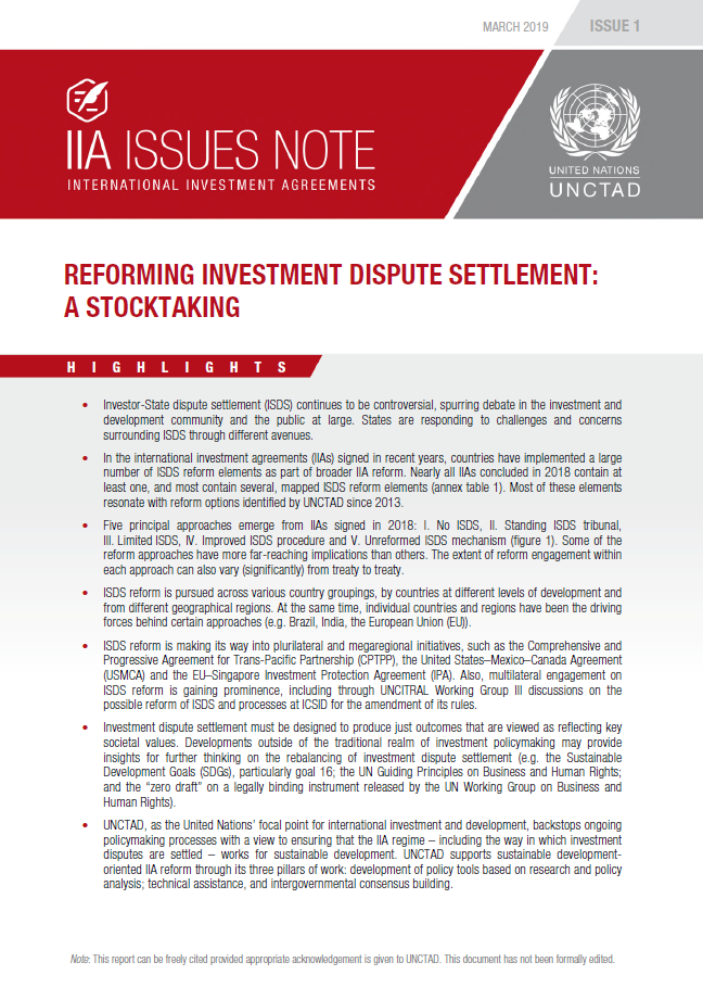 Reforming Investment Dispute Settlement: A Stocktaking