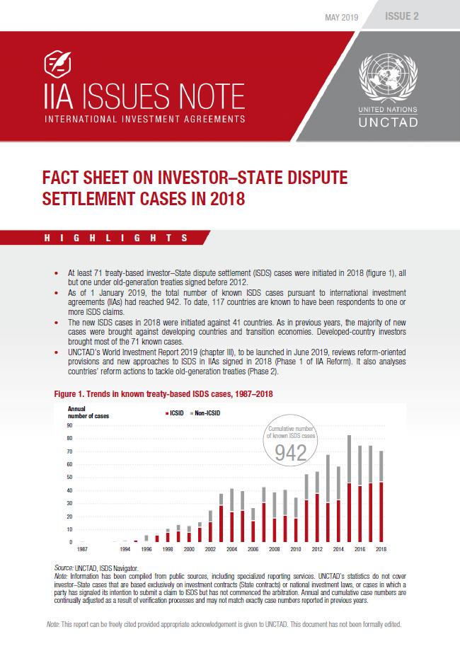 Fact Sheet on Investor–State Dispute Settlement Cases in 2018