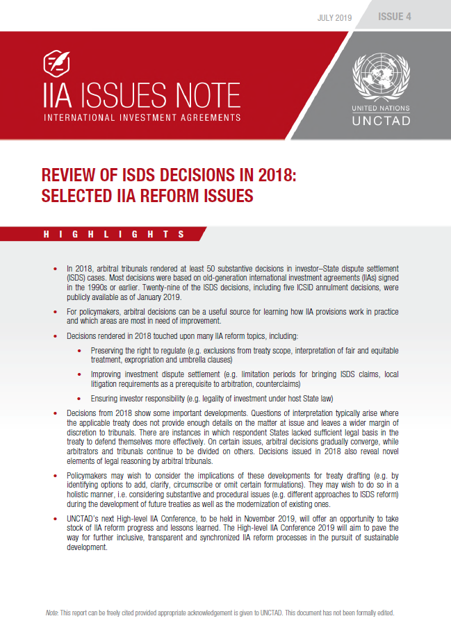 Review of ISDS Decisions in 2018: Selected IIA Reform Issues