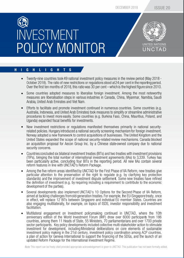 Investment Policy Monitor No. 20