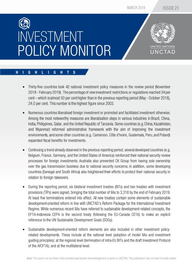Investment Policy Monitor No. 21