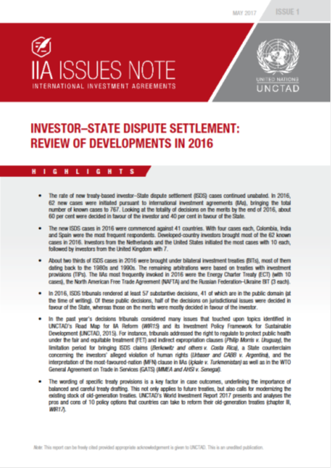Investor-State Dispute Settlement: Review of Developments in 2016