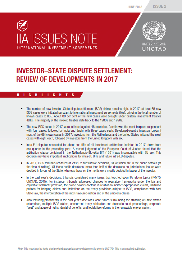 Investor-State Dispute Settlement: Review of Developments in 2017